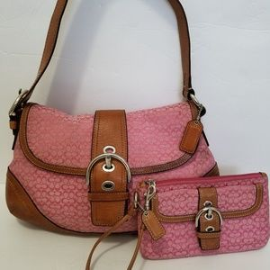 Coach Pink Signature Canvaswith Leather Trim Purse